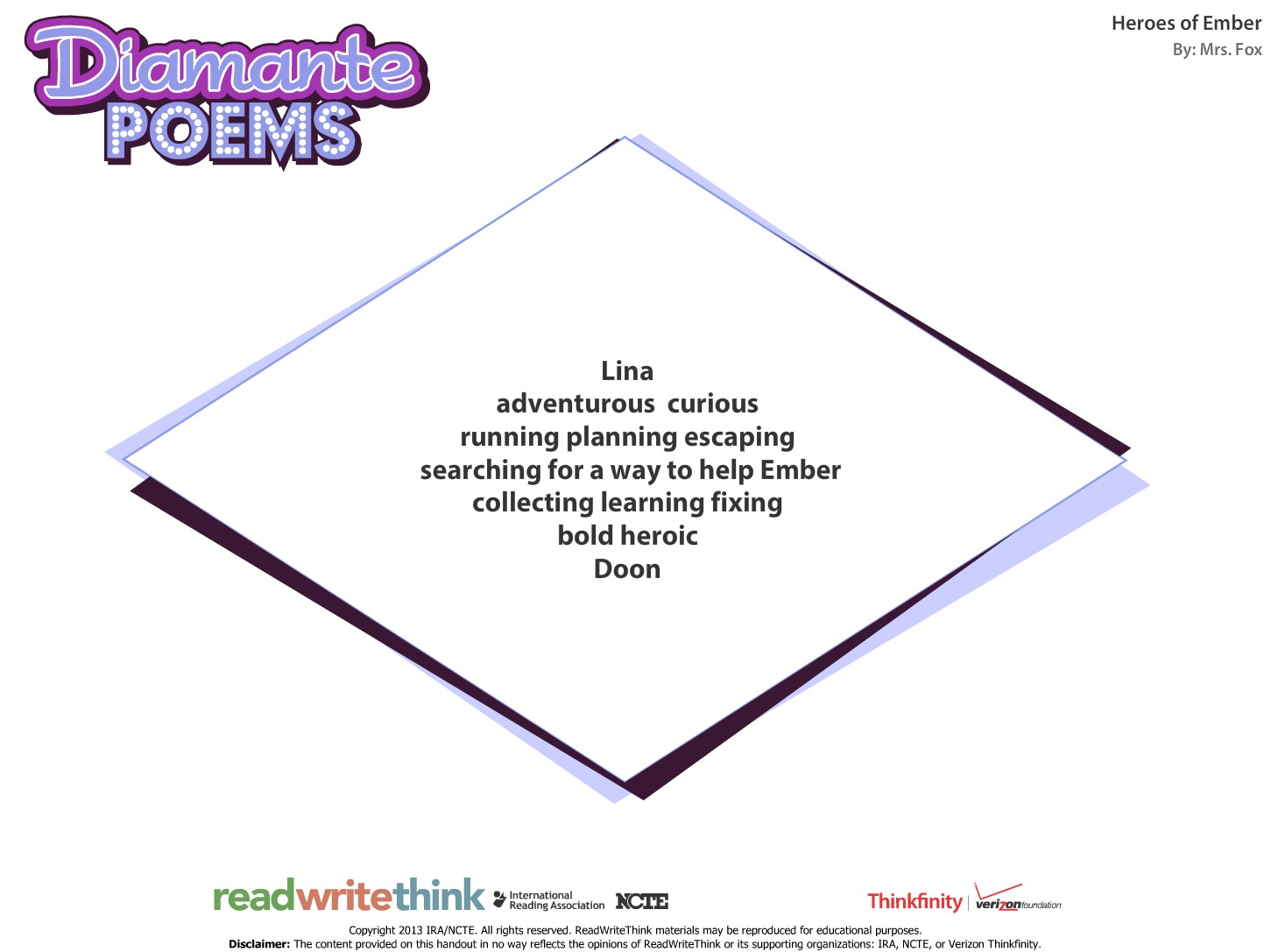 Pics Photos - Diamante Poems